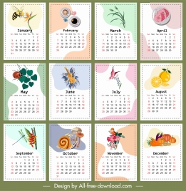 calendar templates colorful insect fruit floras pie themes