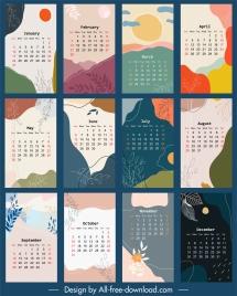 calendar templates nature elements decor retro colorful design