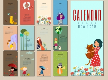 calendar templates woman animals flowers icons cartoon design