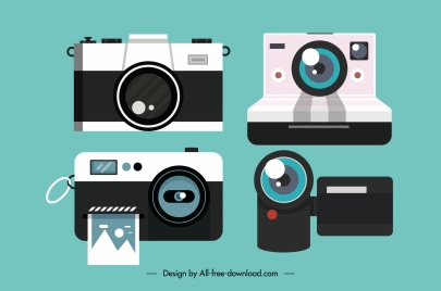 camera device icons colored flat sketch