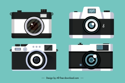 camera model icons modern flat sketch