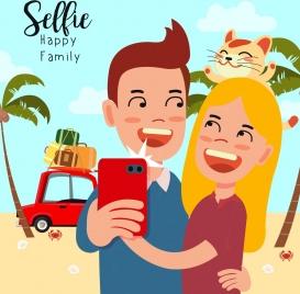 camera selfie advertising joyful couple cute cartoon design