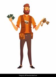cameraman icon colored cartoon character sketch