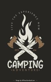 camping adventure poster template retro fire axes sketch