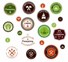 Camping and outdoor adventure badges and labels