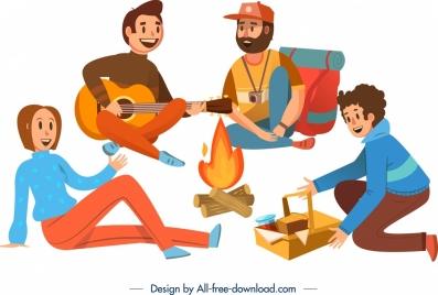 camping background joyful people campfire icons cartoon design