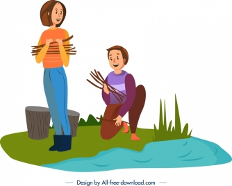 camping background people activity icon cartoon characters