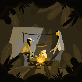 camping background people fire icons cartoon design