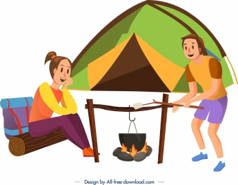 camping background people tent campfire icons cartoon design