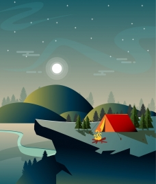camping background tent mount moon icons sparkling sky