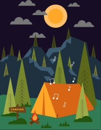 camping background tent music notes icons night backdrop