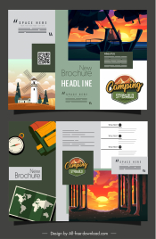 camping brochure template nature scenes decor trifold shape