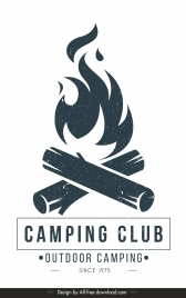 camping club poster black white classical flat sketch