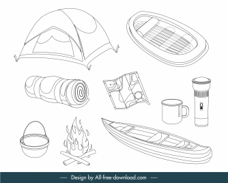 camping design elements objects sketch black white handdrawn