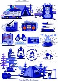 camping design elements personal tools sketch blue design