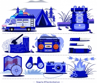 camping design elements personal utensils icons blue sketch