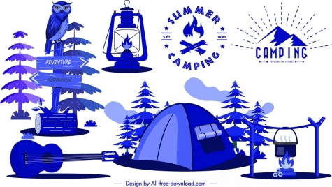 camping design elements tent guitar campfire lamp sketch