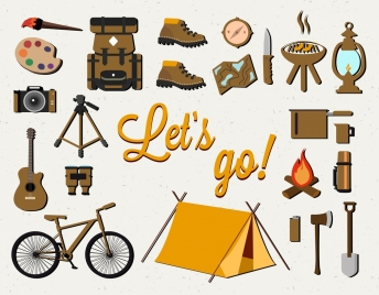 camping design elements various colored objects