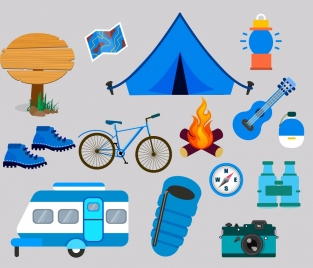 camping design elements various colored symbols isolation