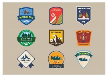 camping logo sets in vintage style illustration