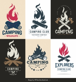 camping logo template retro fire wood sketch