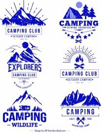 camping logo templates blue retro sketch