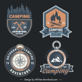 camping logo templates elegant retro design flat symbols