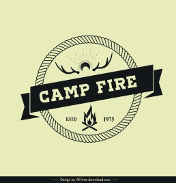 camping logotype classical circle ribbon fire antlers decor