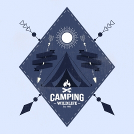 camping logotype tent arrow moon decor geometric design