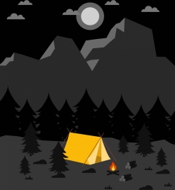 camping on mountain background tent icon dark grey