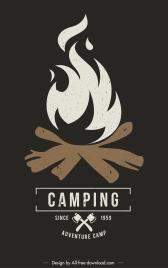 camping poster template flaming wood sketch dark retro