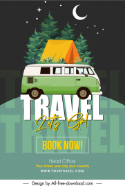 camping travel poster classic bus tent moon sketch