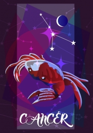 cancer zodiac symbol red crab icon 3d design