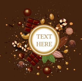 candies backdrop chocolates nuts icons brown decoration
