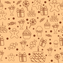 candies background flat icons design repeating ornament