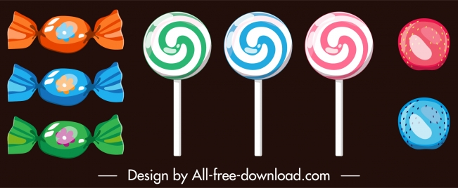 candies icons multicolored shapes decor flat design