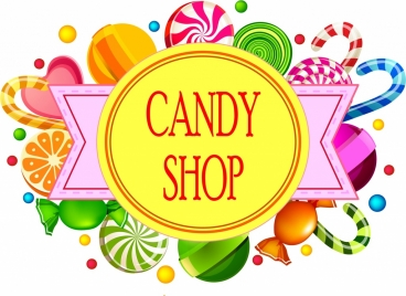 candy shop background various colorful objects flat ribbon