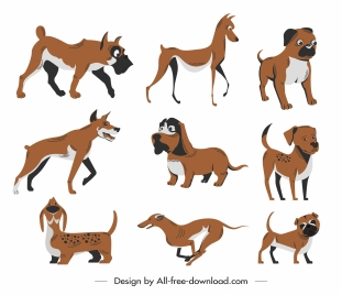 canines icons cute cartoon sketch