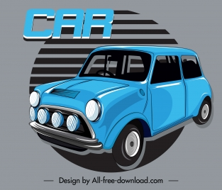 car advertising banner blue 3d classic design