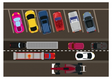 car and traffic vector illustration from height