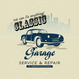 car garage advertisement calligraphic classical design