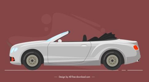 car model icon contemporary design flat sketch