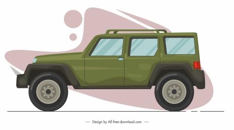 car model icon side view flat sketch