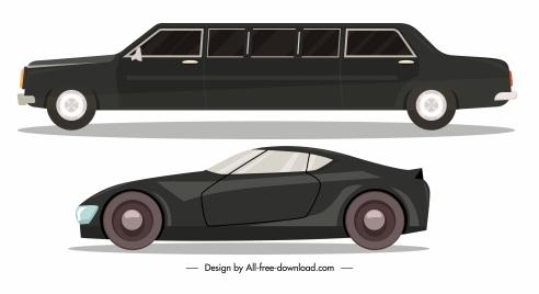car model icons elegant contemporary design side view
