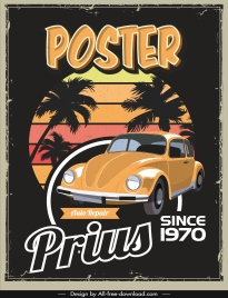 car poster template colorful vintage decor dark design