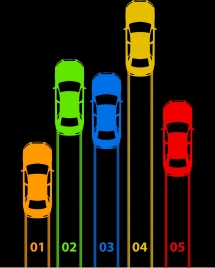 car race background colorful icons silhouette dark design
