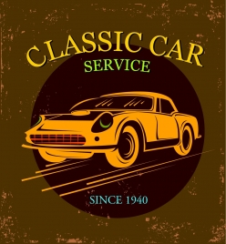 car service banner yellow icon grunge classical design