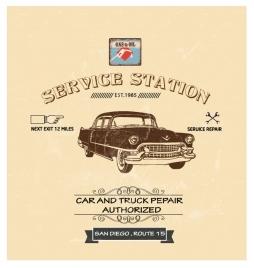 car service station poster design in vintage style