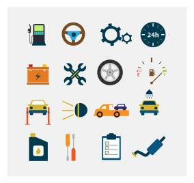 car symbol icons collection isolated with various types