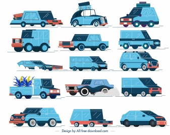 car vehicle icons colored classical 3d sketch